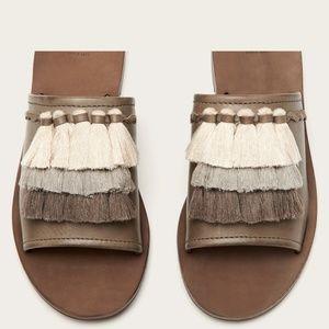 FRYE Taupe Gray Riley Tassel Slide Leather Sandals